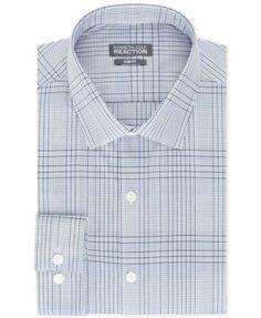 Kenneth Cole Reaction Slim-Fit Blue Check Dress Shirt