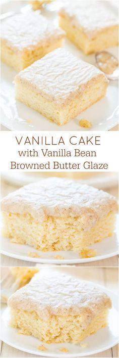 Vanilla Cake with Vanilla Bean Browned Butter Glaze