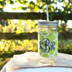 Lime green goes great with a blue monogram! Free monogramming included with all mason jar tumblers!! Check out this item in my Etsy shop today!! https://www.etsy.com/listing/199626399/mason-jar-tumbler-24-oz-gifts-under-25
