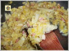 Contorno di cavolo cappuccio ricetta antica, cotto con prosciutto crudo e porro, saporito ed economico accompagna le pietanze, ideale da ripieno nella piadina