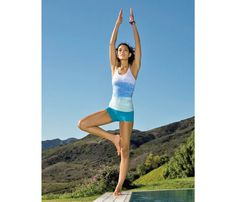 Yoga Poses for Runners: Tree. Balancing on one leg is great for athletes--runners especially. The more you can strengthen your legs and improve your balance, the less likely you are to twist an ankle or fall down when you're on a trail or any type of uneven ground. #SelfMagazine