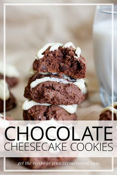 Sweet and indulgent double chocolate cookies are loaded with cocoa powder, chocolate chips and then finished off with a mascarpone drizzle. Types Of Desserts, Easy Desserts, Delicious Desserts, Cheesecake Cookies, Chocolate Cheesecake, Double Chocolate Cookies, Chocolate Chips, Unsweetened Cocoa, Best Dessert Recipes