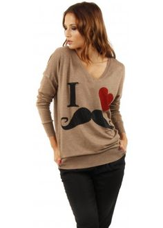 Designer Desirables I Heart Moustache Fine Knit Taupe Jumper #winterwarmer