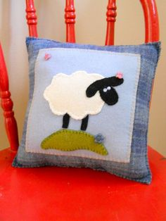 Sheep Pillow  In the Meadow  Children's Animal by ThePineappleCatz, $23.00