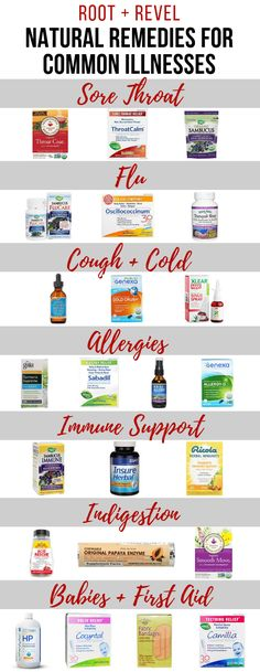 Get relief from common illnesses like colds, flu, sore throats + sinuses, allergies and digestive discomfort with these over the counter natural remedies! Natural Cough Remedies, Flu Remedies, Cold Home Remedies, Natural Health Remedies, Natural Cures, Herbal Remedies, Natural Foods, Natural Healing, Natural Products