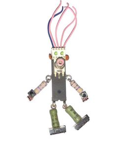 Shes bold !  Shes beautiful !  She has big feet !  This robot girl is built with lead-free solder using electronic components. The 5 tall figure dangling arms and legs and is signed with my initials on the back. Theres a super-strong rare earth magnet securely attached to the back, allowing her to dance on your refrigerator with her bib big feet.  Beautiful.