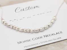 Morse Code necklace Custom name necklace provide by SilverStamped