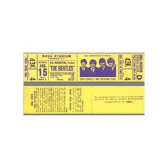 Beatles Concert Tickets - New York 8/15/65 ❤ liked on Polyvore featuring concert tickets, filler and tickets