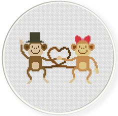 Charts Club Members Only: Love Monkey Cross Stitch Pattern