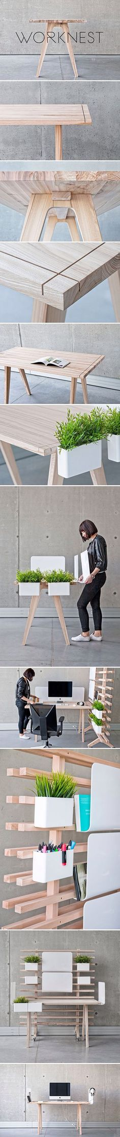 Worknest: handcrafted modular workplace, design from Wiktoria Lenart. Design detail using simple cuts. Wooden Furniture, Cool Furniture, Furniture Design, Wood Projects, Woodworking Projects, Furniture Inspiration, Wood Design, Joinery, House Design