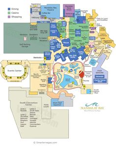 Mandalay Bay Hotel and Casino Property Map and Mandalay Bay Floor Plans in Las Vegas. Find your way around the casino, find where everything is located with these helpful maps. Las Vegas Map, Las Vegas Restaurants, Las Vegas Vacation, Visit Las Vegas, Mandalay Bay Casino, Las Vegas Weddings, Nevada, How To Plan, Vacations