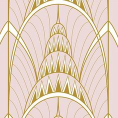 Pink Art Deco Chrysler Building Print Wallpaper Mural | Hovia