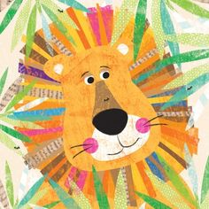 Oopsy Daisy Peeking Jungle Buddies Lion Canvas Wall Art by Liza Lewis, available at