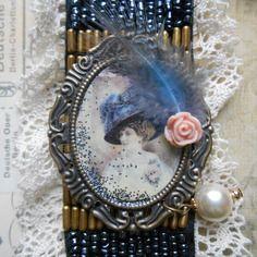 """Bracelet manchette vintage """" romance bleu"""", esprit rétro romantique"""