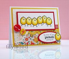 cute handmade Easter card: My favorite Peeps by Wanda Guess ... Taylored Expressions ... adorable row of litte chicks/peeps ... luv the Copic coloring of the chicks!!