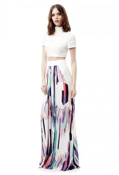 AQ/AQ Aetha Printed Maxi Skirt with Mini Underskirt · Cream White Print ·