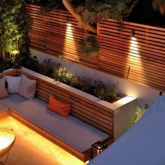 Night London Garden - Western Red Cedar Slatted Screens - #Cedar #garden #London #night #Red #Screens #Slatted #Western