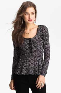Free people Lace Peplum Henley in Gray (black combo) | Lyst