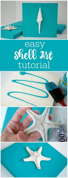 Easy sea shell art tutorial by The Party Teacher | https://thepartyteacher.com/2013/04/16/tutorial-easy-peasy-shell-art/
