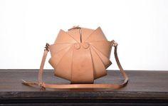 Leather Handmade Handbag  Round Nude Color;by KiliDesign