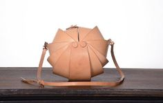 Leather Handmade Handbag Round Nude Color via Etsy...MXS $275.00