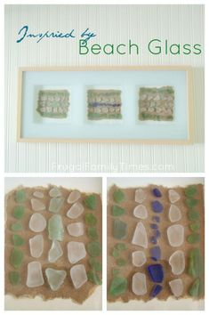 A simple framed beach (or sea) glass art project. A great DIY craft for a beach or nautical decor. A lovely way to display your sea glass collection in a way that catches the light.