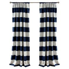 Add a pop of pattern to your master suite or guest room with this lovely curtain panel, showcasing navy stripes and a blackout design.    ...