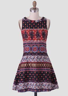 Around The World Printed Dress