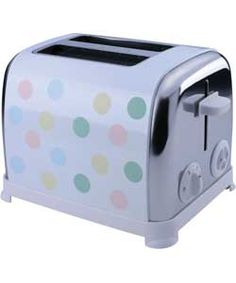 The KitchenOriginals Classic Pastel Spot Toaster by Kalorik is hand printed with a vintage style polka dot design. Presented in high quality stainless steel combined with a powerful 950W toasting capability, this unique appliance is the ideal combination of traditional styling and contemporary technology.