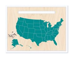 United States Map & Pin Set - Teal Blue - MOUNTED MAP on Etsy, $20.00
