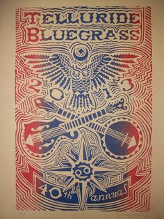 Telluride Bluegrass 2013 Print - Linocut Relief Print