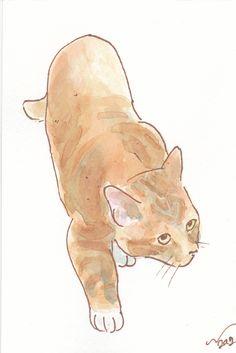 OSWOA Cat Hunt Original Watercolour & Ink Painting 4x6 OOAK £10.00