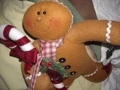 "12""  primitive cloth gingerbread boy man  doll Christmas decoration decor"