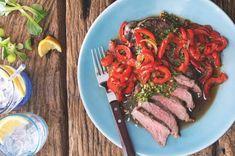 Steaky s chimichurri & karamelizované papriky Ratatouille, Ethnic Recipes, Food, Red Peppers, Essen, Meals, Yemek, Eten
