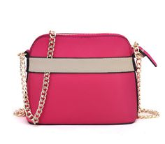 Elsa Bow Front Small Shoulder Bag in Fushia with Gold Chain Strap - Sarah Birds Boutique
