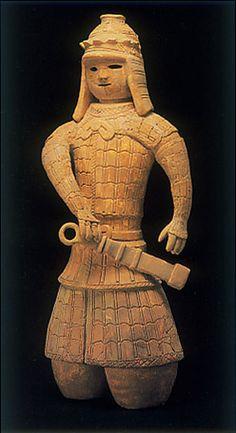soldier. The Kofun period art,Haniwa terracotta clay figure. Osaka japan.   foot of the figure has done deficiency.