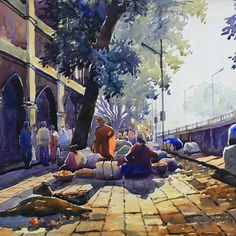 Buy Calm painting online - the original artwork by artist Sunil Linus De, exclusively available at Mojarto only. Watercolor Scenery, Watercolor Paintings For Beginners, Watercolor Artwork, Watercolor Landscape, Scenery Paintings, Indian Paintings, Art Drawings For Kids, Cartoon Drawings, Composition Painting