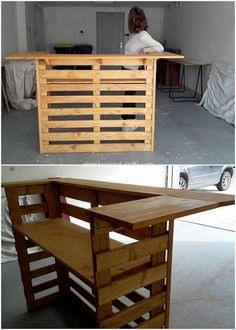 This counter table is definitely a best idea to opt for your bar counter business. This wood pallet counter table is making you feature off with one portion of shelf for holding your bar bottles in one session. Its quite designed in a neat way! Bar Furniture, Pallet Furniture, Outdoor Furniture Sets, Cheap Furniture, Pallet Counter, Bar Counter, Pallet Bar, Pallet Wood, Recycled Pallets