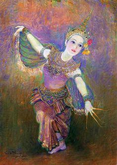thai dancing painted by Chakrabhand Posayakrit