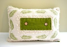 Upcycled Green Leaves Pillow with Insert. Handmade with Buttons and Felt.