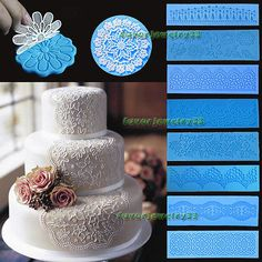 Silicone Mould Lace Fondant Embosser Cake Mat Baking Chocolate Decorating Tool