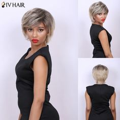 Multi Short Fluffy Side Bang Straight Real Natural Hair Siv Wig #>=#>=#>=#>=#> Click on the pin to check out discount price, color, size, shipping, etc. Save and like it!