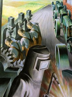 """Harry Sternberg, """"Chicago: Epoch of a Great City"""" / WPA Mural, 1937"""