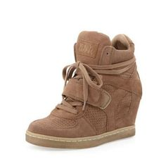 $169, Tan Suede Wedge Sneakers: Ash Cool Suede Wedge Sneaker Nut. Sold by Last Call by Neiman Marcus.