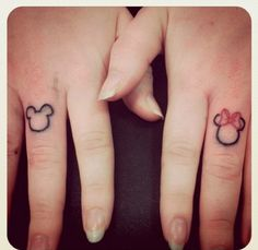 disney finger tattoo cute for a couple tat to go on ring figures :) totally want to do
