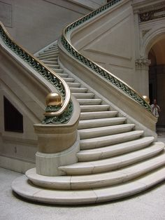 The staircase in the court of the original building at the Maryland Institute College of Art in Baltimore (MICA) --this article has nothing to do with this staircase!