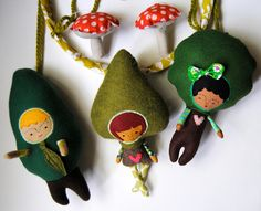 Baby Mobile --- Children of the Forest with Toadstools --- Made to Order. $120.00, via Etsy.