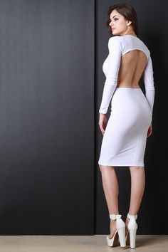Long Sleeve Backless Midi Dress