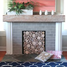 46 Gorgeous Wood Slice Fireplace Cover For Nice Inspiration – farmhouse fireplace tile Fireplace Logs, Simple Fireplace, Fireplace Cover, Shiplap Fireplace, Farmhouse Fireplace, Fireplace Surrounds, Fireplace Design, Unused Fireplace, Fireplace Drawing