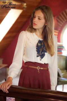 Miss Patina — *As seen in LOOK magazine*Old School Ruffled Collar Bow Blouse (White) Back in Stock!